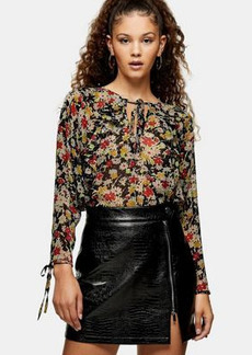 Topshop grunge ruffle blouse in multi