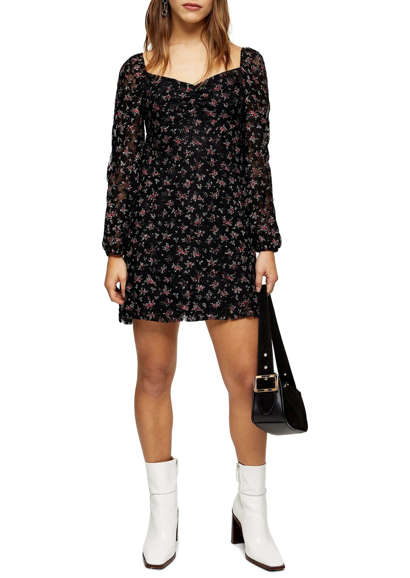 Topshop Gypsy Floral Lace Minidress (Petite)