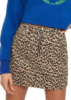 Topshop Half Zip Leopard Print Denim Skirt