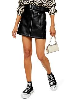 Topshop Hardware Faux Leather Miniskirt (Petite)