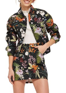 Topshop Hawaii Floral Crystal Denim Jacket
