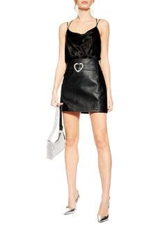 Topshop Heart Buckle Faux Leather Miniskirt