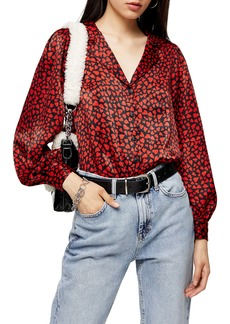 Topshop Heart Print Satin Shirt