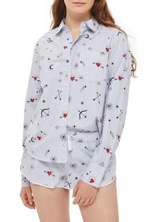 Topshop Heart Print Stripe Pajama Shirt