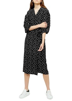 Topshop Heart Print Wrap Dress