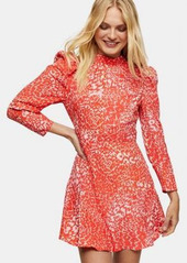 Topshop high neck long sleeve mini dress in pink