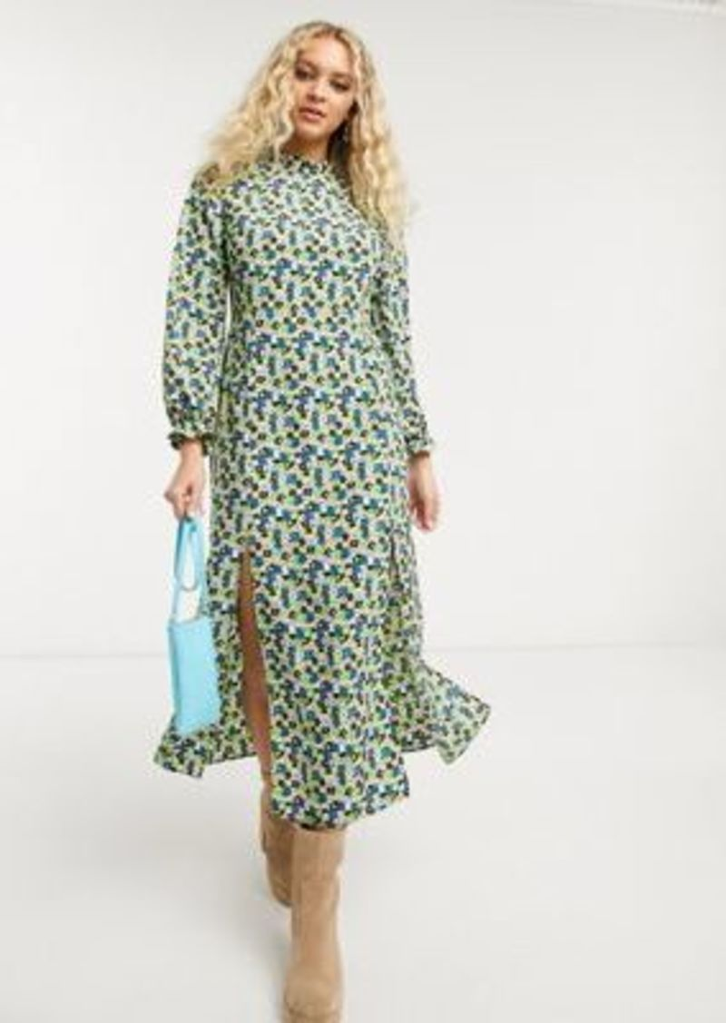 Topshop high neck midi dress in green floral