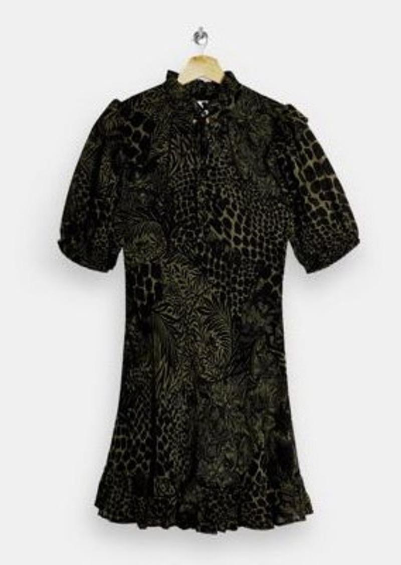 Topshop high neck mini tea dress in green animal print