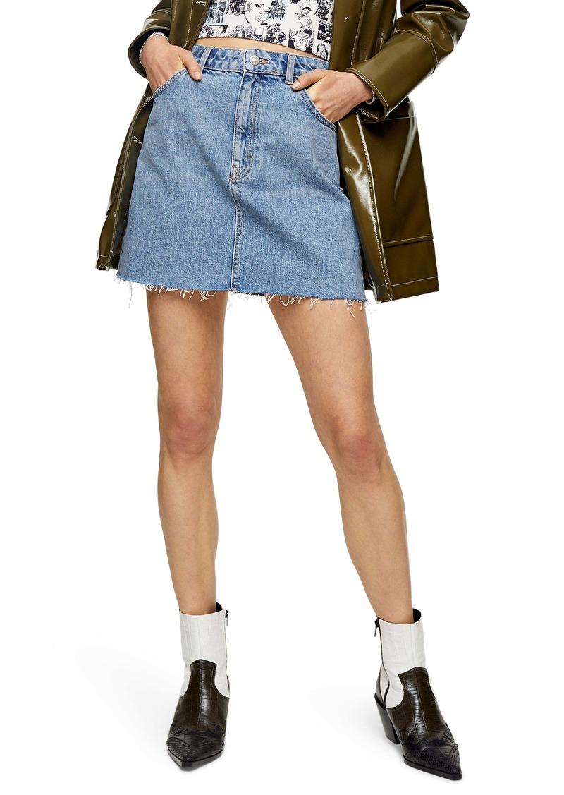 Topshop High Waist Denim Miniskirt