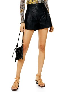 Topshop High Waist Faux Leather Shorts