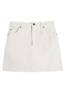 Topshop High Waist Raw Hem Denim Skirt