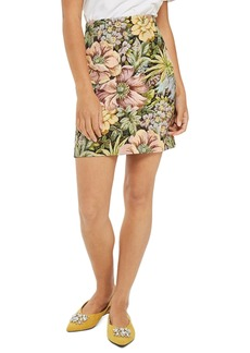 Topshop High Waist Tapestry Miniskirt