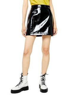 Topshop High Waist Vinyl Miniskirt
