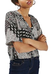 Topshop 'Holly' Scarf Print V-Neck Blouse