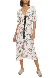 Topshop Hook Front Floral Midi Dress
