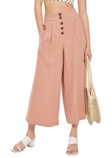 Topshop Horn Button Crop Wide Leg Trousers
