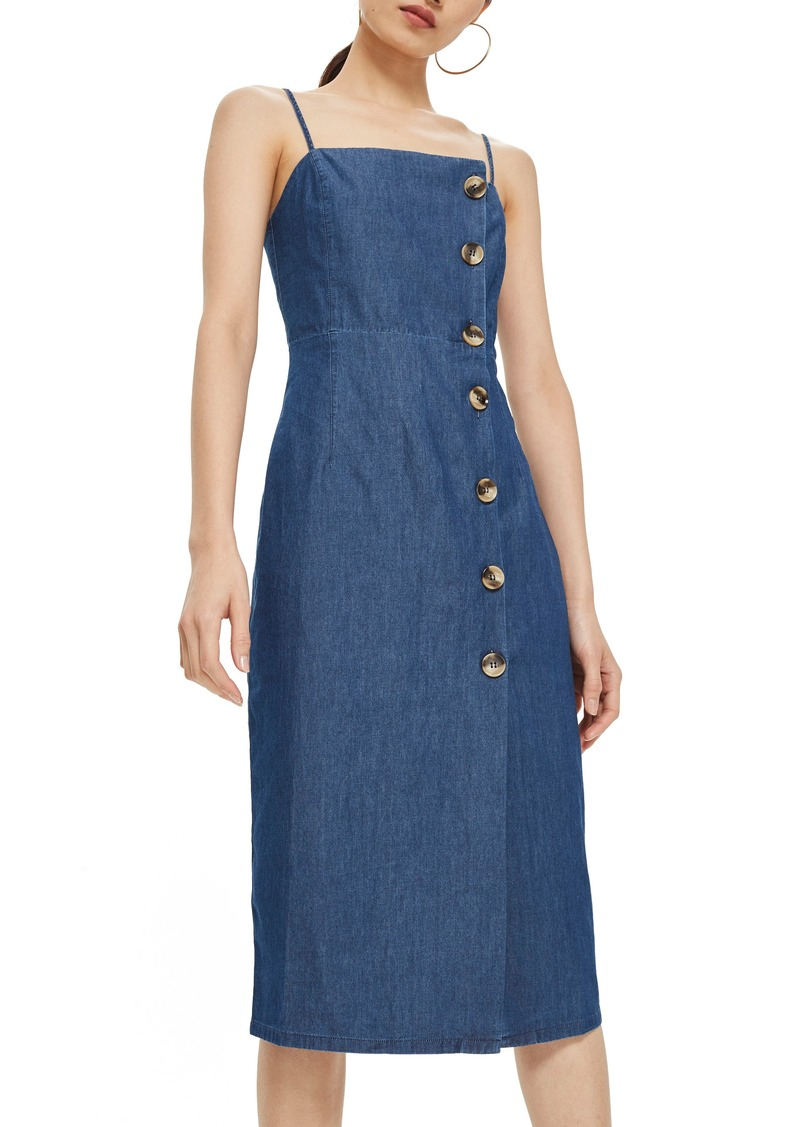 Topshop Horn Button Midi Dress