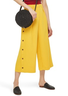 Topshop Horn Button Side Crop Wide Leg Trousers