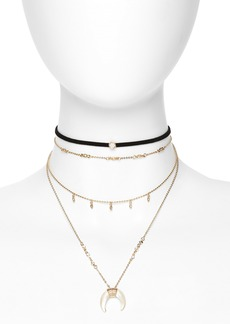 Topshop Horn Pendant Multistrand Necklace & Choker
