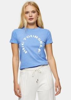 Topshop hug yourself shrunken t-shirt in blue