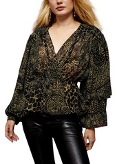 Topshop Idol Animal Print Ruffle Blouse
