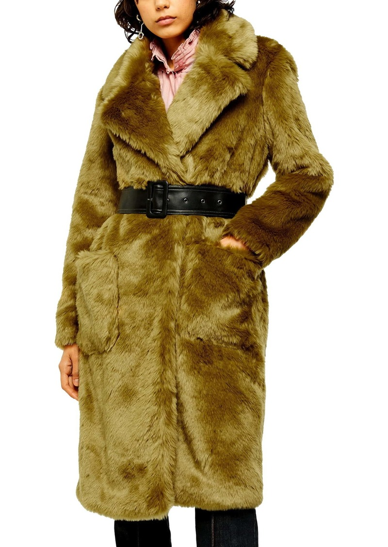 Topshop IDOL Belted Faux Fur Coat