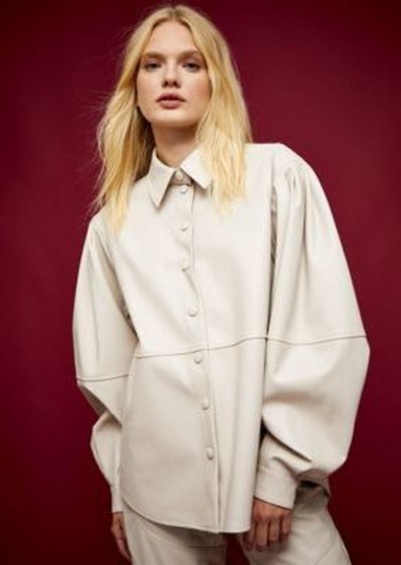 Topshop IDOL faux leather shirt in cream