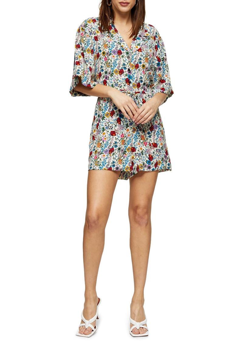 Topshop IDOL Floral Pajama Collar Romper