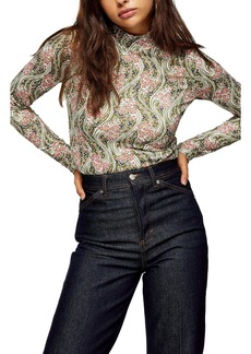 Topshop Idol Floral Print Long Sleeve Top