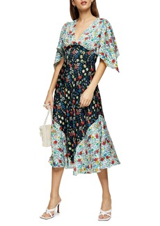 Topshop IDOL Mix Print Midi Dress