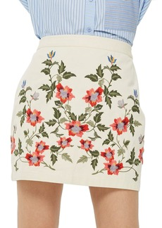 Topshop Ivy Flower Embroidered Skirt