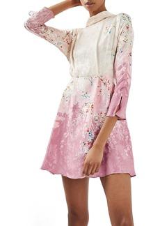 Topshop Jacquard Floral Print Dress