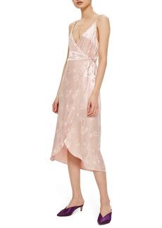 Topshop Jacquard Plunge Neck Wrap Dress