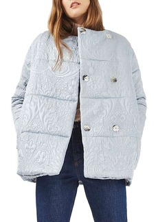Topshop Jacquard Satin Puffer Jacket