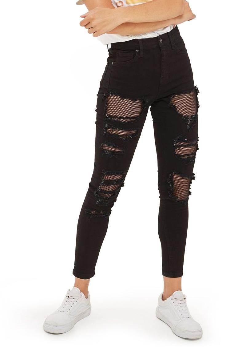 70e38565763 Topshop Topshop Jamie Black Fishnet Rip Skinny Jeans Now $59.99