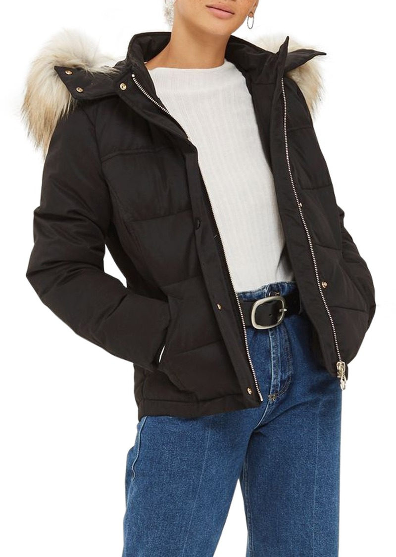 quality first fast delivery enjoy cheap price Topshop Topshop Jerry Faux Fur Trim Puffer Jacket | Outerwear