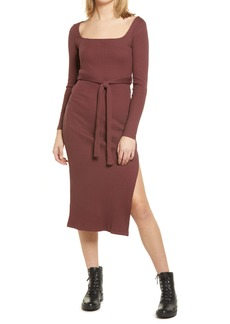Topshop Jersey Ribbed Long Sleeve Midi Dress