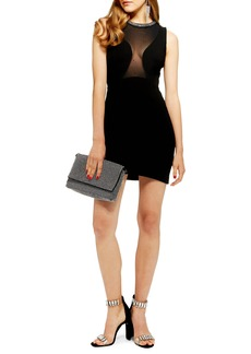 Topshop Jewel Neck Velvet Body-Con Dress