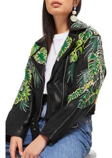 Topshop Jungle Embellished Leather Moto Jacket