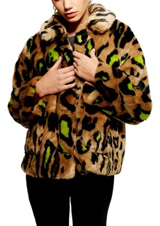 Topshop Juno Faux Fur Leopard Jacket