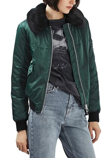 Topshop Kane Faux Fur Collar Bomber Jacket