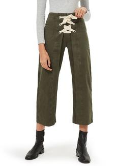 Topshop Khaki Lace-Up Wide Crop Jeans