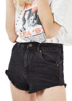 Topshop Kiri Denim Shorts (Washed Black)