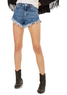 Topshop Kiri Fray Hem Shorts (Mid Denim)