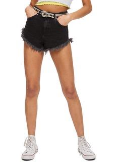 Topshop Kiri Moto Fray Hem Shorts (Washed Black)