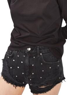 Topshop Kiri Stud Ripped Denim Shorts