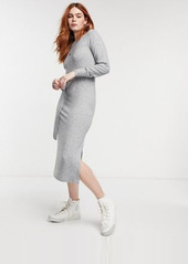Topshop knitted midi dress in gray heather