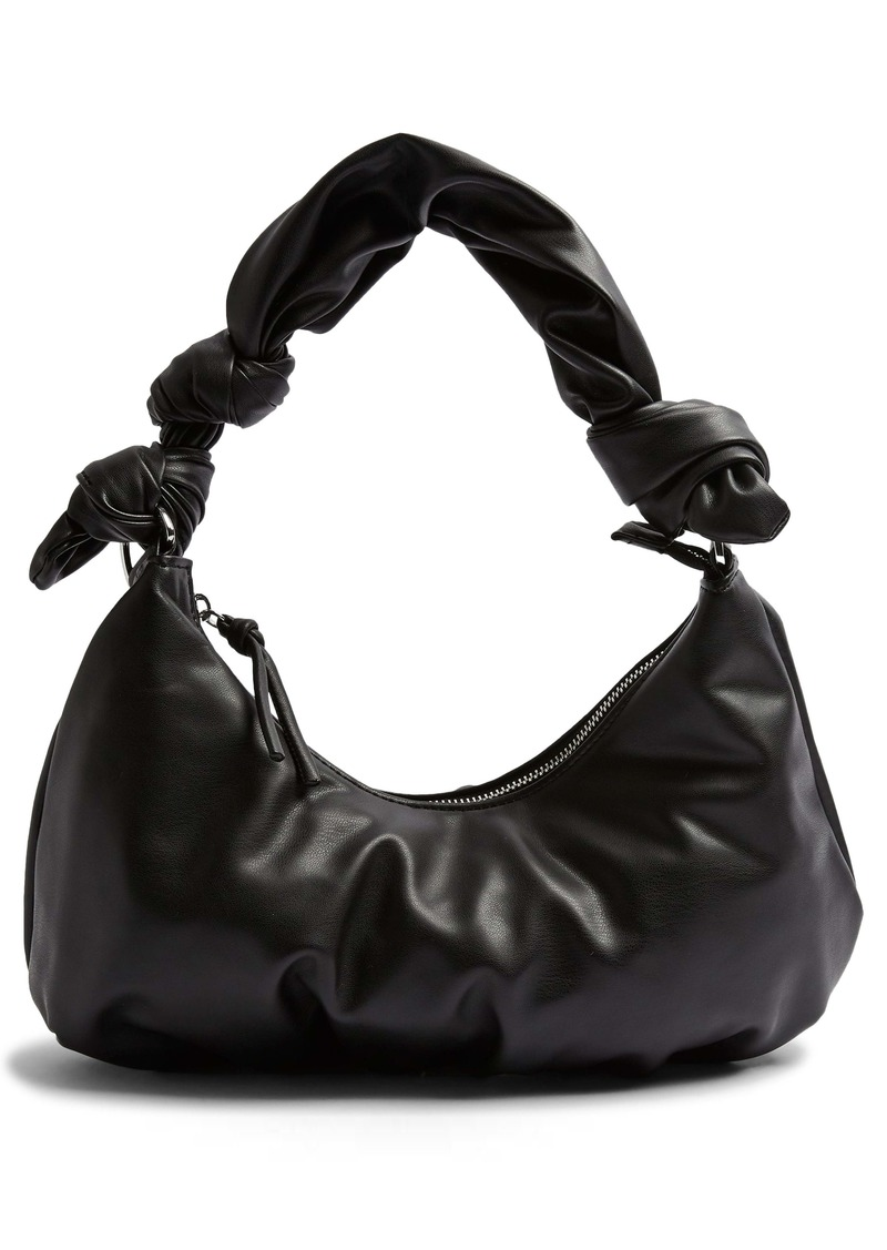 Topshop Knotted Half Moon Faux Leather Shoulder Bag