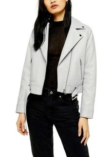 Topshop Kota Crop Faux Leather Jacket