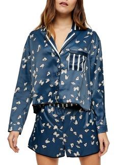 Topshop Kourtney Butterfly Print Satin Short Pajamas